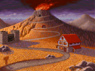 A screenshot of the main screen in Shadow of Yserbius. The volcano billows smoke in the background, while in the foreground the Tavern is full of other players.