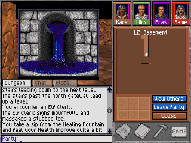A party of adventurers discovers the Healing Fountain in the Basement map. The automap interfce is shown on the right-hand side of the screen.